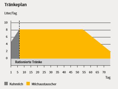 Grafik zur Veranschaulichung des Tränkeplans für die rationierte Tränke von Kälbern in der Tränkephase inkl. Einsatz Liter pro Tag an Kuhmilch und Milchaustauscher.
