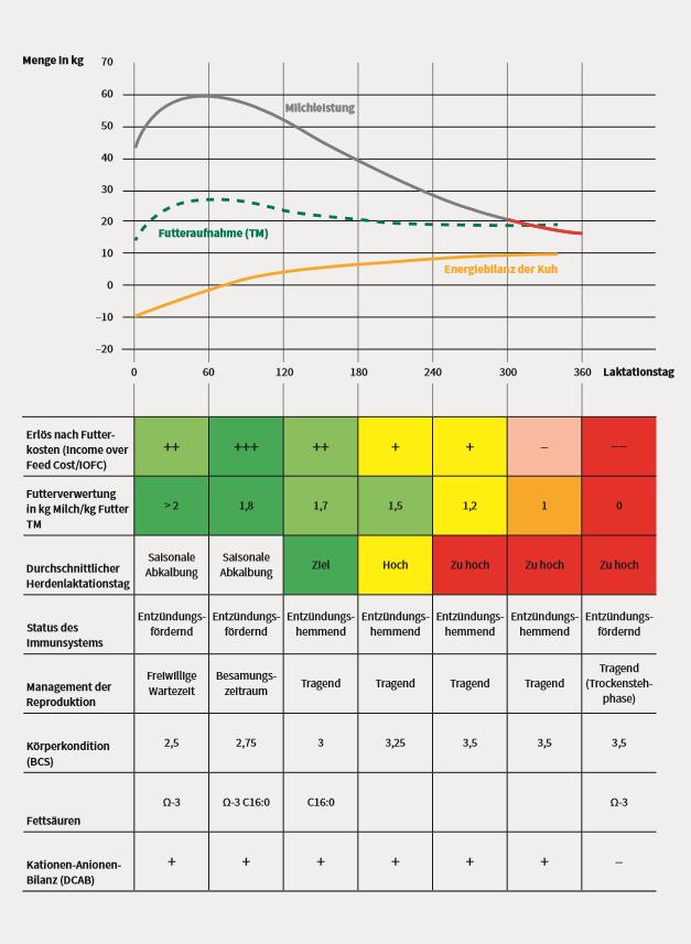 Liniendiagramm und Tabelle Laktationsverlauf Milchkuh