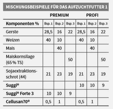 Mischungsbeispieltabelle für Ferkelaufzucht Aufzuchtfutter 1